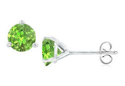 Sterling Silver Martini Style Peridot Stud Earrings with 2.00 CT TGW