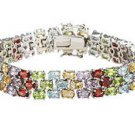 Sterling Silver Prong Set 3 Rows Oval Multi Color Gemstone Bracelet 19.00 CT TGW