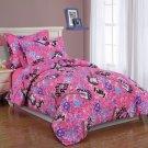 NEW! Girls Kids Bedding- Twin Sheet Set Rock and Roll Pink