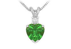 NEW! Synthetic Heart Shaped Emerald Solitaire Pendant .925 Sterling Silver 1 CT.