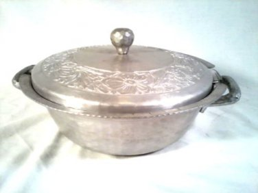 VINTAGE PYREX GLASS BOWL WITH ALUMINUM HAND FORGED SERVING BOWL
