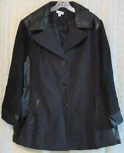 Susan Graver Three Button Color-Block Wool Coat w/ Faux Leather 2X