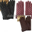 Dennis Basso Quilted Lamb Leather Gloves with Button Accent