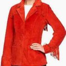 Denim & Co. Washable Suede 3-Button Fringe Jacket 2X