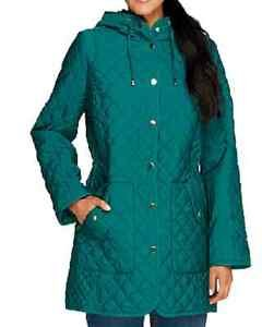 Joan Rivers Quilted Coat with Hood SIZE 2X