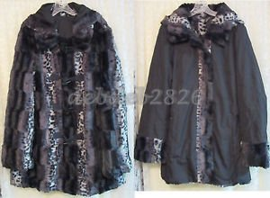 Dennis Basso Reversible Faux Fur Toggle Coat w/ Detachable Hood X-LARGE