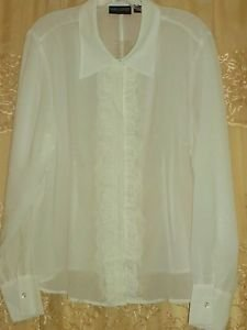Pamela Dennis PCG Chiffon Blouse with Lace Placket X-LARGE