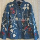 Denim & Co. Lace Applique & Embroidered Denim Jacket MEDIUM