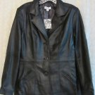 Denim & Co. Button Front Leather Blazer with Pockets MEDIUM