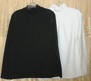 Denim & Co. Set of 2 Mock Neck Stretch Tops w/ Shirring Detai SMALL