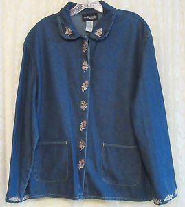 Sag Harbor Embroidered Denim Jacket MEDIUM
