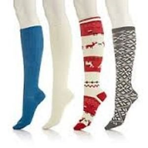Curations Caravan 4 Pack Knee Hi Socks with Gift Box fits szs 9-11