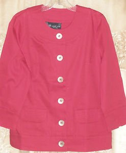 Susan Graver Stretch Sateen Trapunto Stitch Button Front Jacket SMALL