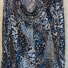 George Simonton Animal Print Milky Knit Top w/Chain Detail MEDIUM