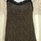 AngelLove Breezies  Animal Print V-Neck Cami w/UltimAir Bra Shelf X-SMALL