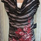 RAFAELLA DRAPE NECK KNIT TOP AND TANK MEDIUM