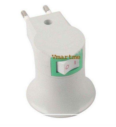 E27 LED Light Male socket to EU Type Plug Adapter Converter W/ ON OFF Button(BICP040663)