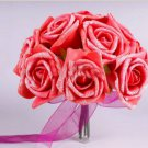 6 Pcs Red Rose Wedding Decor Foam Rose Shape Bridal Bridesmaid Flower(BICP038848)