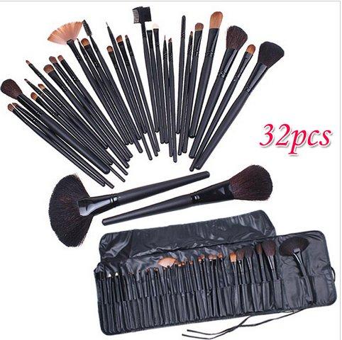 32 PCS Cosmetic Make up Brush Kit Wool Makeup Brushes Tools Set with Black Leather Bag( TOM-H4456)