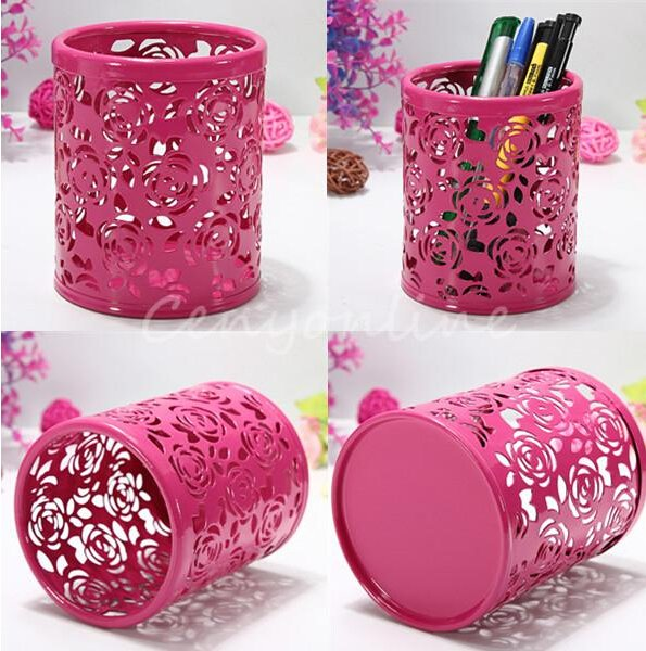 Red Cylinder Pencil Pen Pot Holder Container Organizer