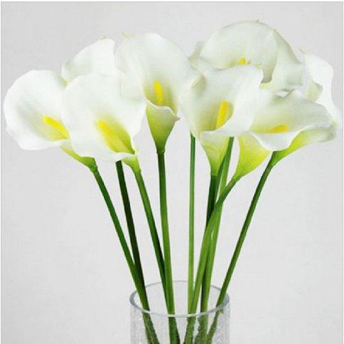 20pcs Calla Lily Bridal Wedding Bouquet Artificial Flower Decor (HT-Latex Calla Lily)