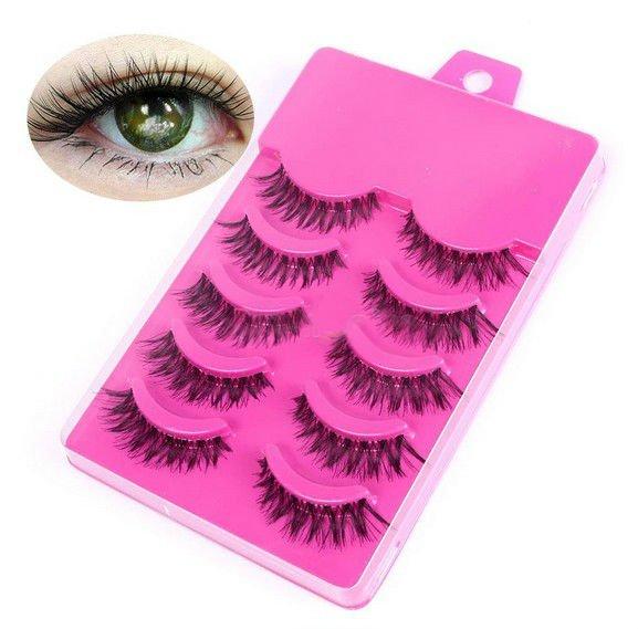 5 Pairs Natural Long Cross False Eyelashes Voluminous Makeup Pink Box(BICP056318)