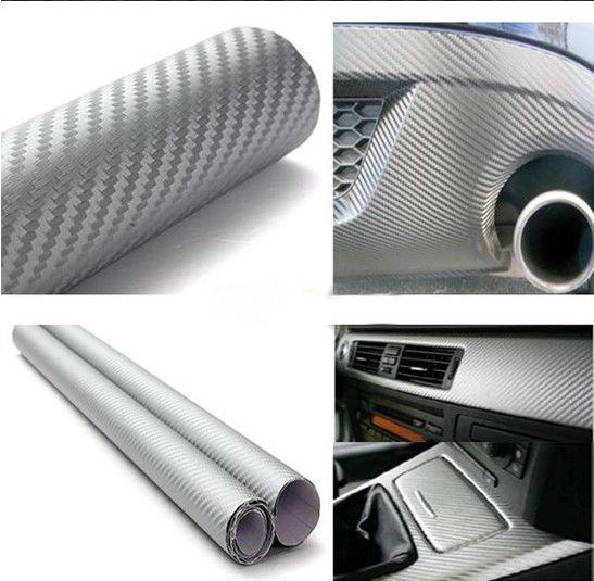 "Silver 60"" x 24"" 3D Carbon Fiber Vinyl Wrap Film Car Vehicle Sticker Sheet Roll (BICP053843)"