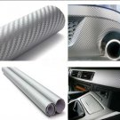 "Silver 60"" x 24"" 3D Carbon Fiber Vinyl Wrap Film Car Vehicle Sticker Sheet Roll (BICP053843)"