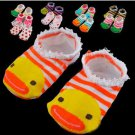 2 Pair Cute Baby Kids Toddler Ankle Socks Non-slip Booties Random Color  (BICP003589)