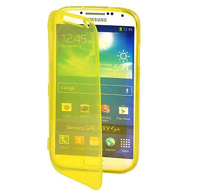 Yellow Flip TPU Skin Gel Silicone Case Cover For SAMSUNG GALAXY S4 i9500(251635358017)