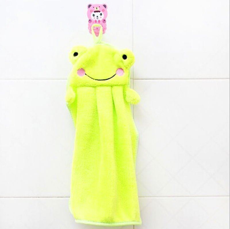 1 Pcs Green Hand Towel Soft Plush Fabric Cartoon Animal Hanging Wipe Bathing Towel (261652190905)