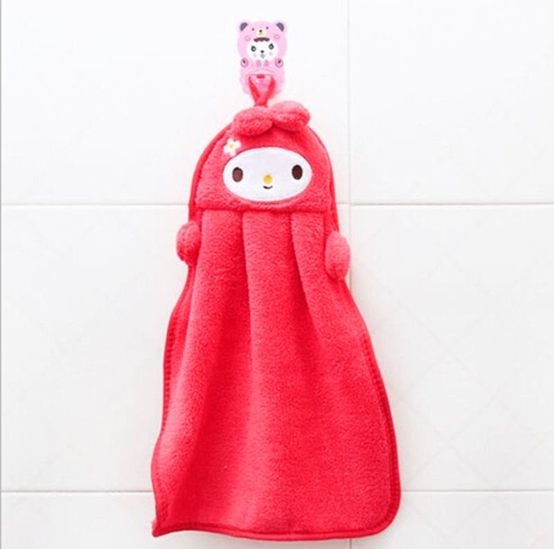 1 Pcs Red Hand Towel Soft Plush Fabric Cartoon Animal Hanging Wipe Bathing Towel (261652190905)