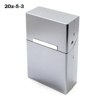 Silver Travel Magnetic Cigar 20PCS Cigarette Case Holder Pocket Aluminum Box (261243098542)