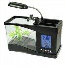 Beautiful USB Desktop Aquarium Fish Tank with LED Light Alarm clock and Calendar(390495610974)