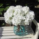 8 Pcs White Wedding Bridal Party Artificial Hydrangea Bouquet Silk Flowers Leaf (131247833439)