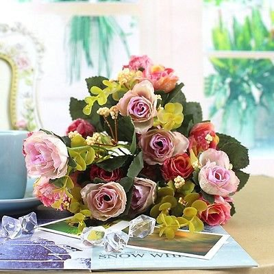 1 Bouquet 21Head Pink Artificial Peony Silk Flower Leaf (121351068581)