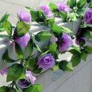1 Strip Purple Artificial Silk Rose Flower Hanging Garland Wedding Home Decor (371040802810)