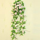 1 Strip Pink Artificial Silk Rose Flower Hanging Garland Wedding Home Decor (371040802810)