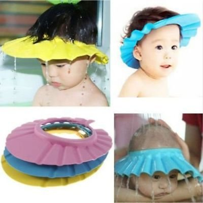 1 Blue Adjustable Baby Kids Shampoo Bath Bathing Shower Cap Hat Wash Hair Shield DB