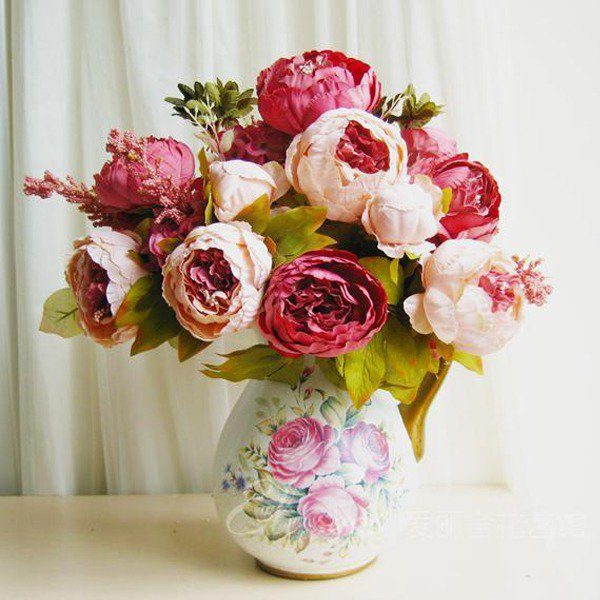 1 Bouquet 8 Head Artificial Fake Silk Leaf Peony Flower Posy Home Wedding Decor(141256674245)