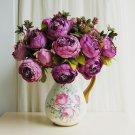 Purple 1 Bouquet 8 Head Artificial Fake Silk Leaf Peony Flower Posy Home Wedding Decor(141256674245)
