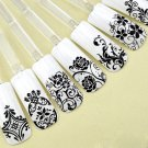 Black Color 108PCS/Sheet 3D Flower Decal Stickers Nail Art Tip stamping Manicure (380980709985)