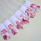 Red 108PCS/Sheet 3D Flower Decal Stickers Nail Art Tip stamping Manicure (380980709985)