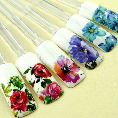 Mode 372 Flower Design Water Transfer Nail Art Sticker (321492521906)