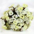 4 Bouquet Creamy Color Fake Silk Rose Flower Leaf Artificial Home Wedding Decor (141564154254)