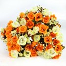 4 Bouquet Yellow Color Fake Silk Rose Flower Leaf Artificial Home Wedding Decor (141564154254)