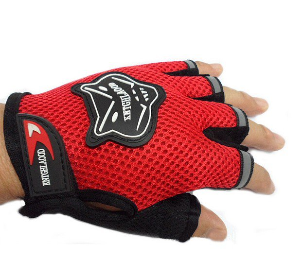 Red Bicycle Bike Fitness Anti Slip Half Finger Exercise Workout Sport Gloves (BICP049223)