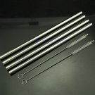 4pcs Straight Metal Stainless Steel Drinking Straws + 2 Cleaner Brush