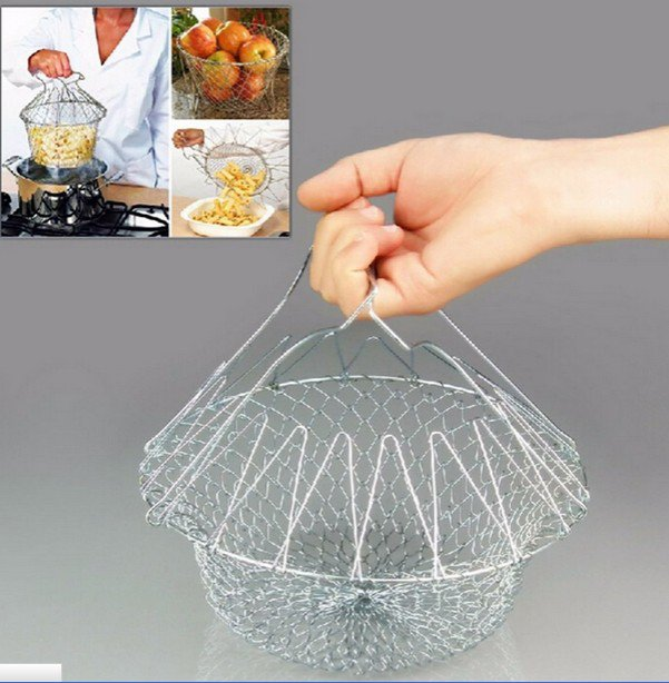 Durable Fry Strainer Sieve Steam Colander Kitchen Cooking Chef Basket