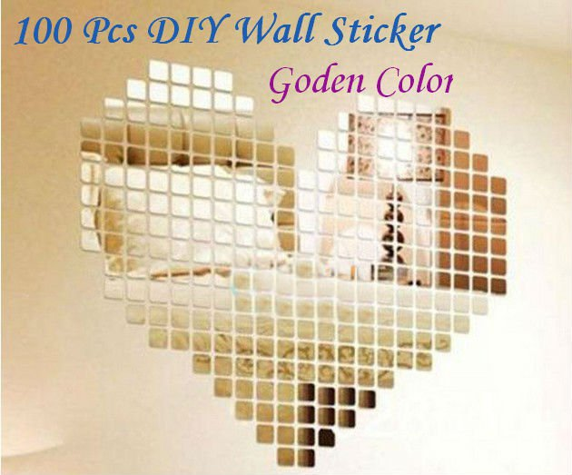 100 Pcs Golden 2x2cm 3D Wall Sticker Mosaic Mirror Effect Living Room Decor